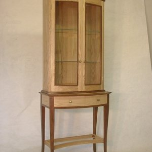 Curved Front Display Cabinet, Ash and Walnut